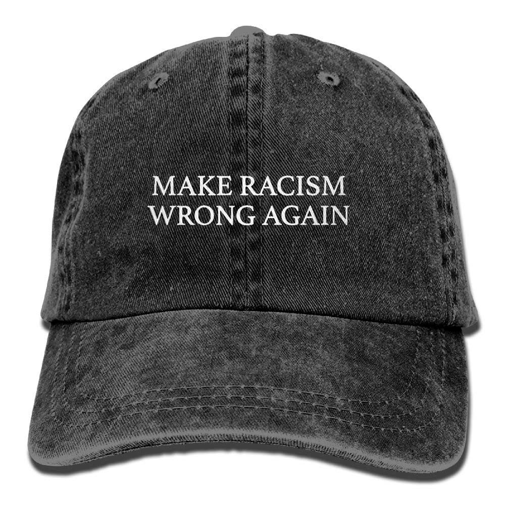 QXXYWZH-F Adult Unisex Make Racism Wrong Again Funny Print Fishing Jean Baseball Caps