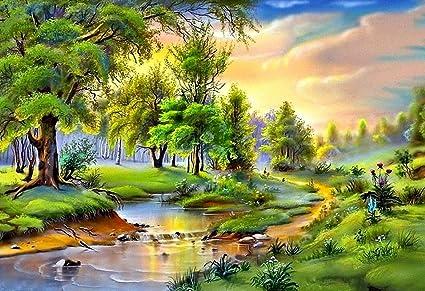 Image of: Art Print Image Unavailable Imgur Mahalaxmi Art Nature Painted Landscape Wallpapermulticolour 13x19