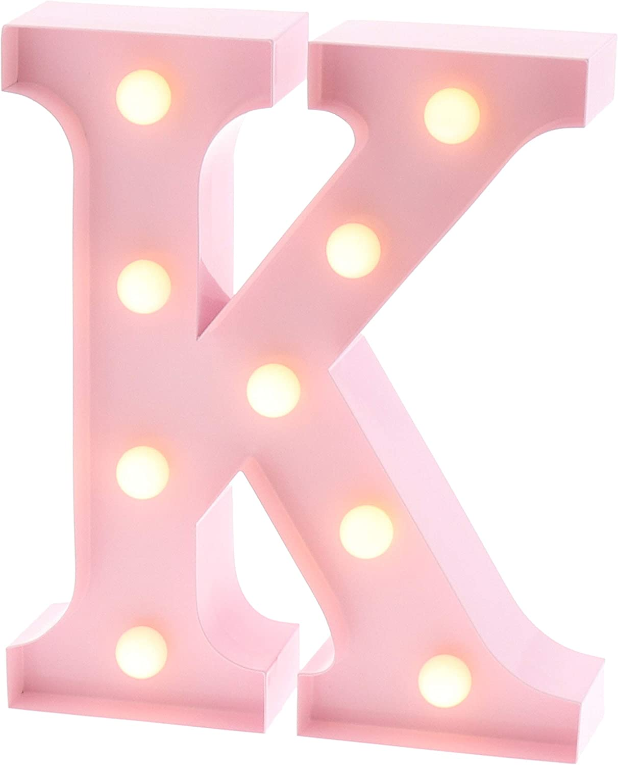 "Barnyard Designs Metal Marquee Letter K Light Up Wall Initial Nursery Letter, Home and Event Decoration 9"" (Baby Pink)"