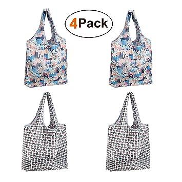 e2c9de2118 Reusable Grocery Bag, Teoyall Foldable Eco Friendly Shopping Bag Heavy Duty  Washable Tote Bag Small