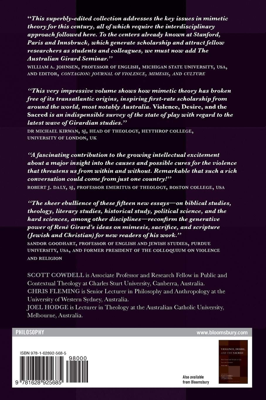 Violence, Desire, and the Sacred, Volume 1: Girard's Mimetic Theory Across  the Disciplines: Scott Cowdell, Chris Fleming, Joel Hodge: 9781628925685:  ...