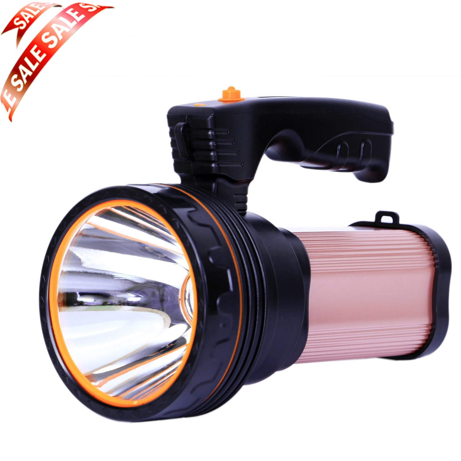 Allflash Searchlight LED Rechargeable Handheld Searchlight Hi High-power Super Bright 9000 MA 6000 LUMENS CREE Tactical Spotlight Torch Lantern Flashlight (Brown)
