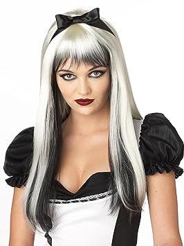 Generique - Peluca Blanca y Negra Pelo Largo con mechas Adulto
