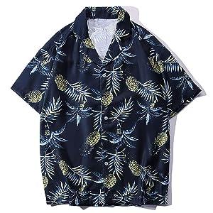 アロハシャツ メンズ 半袖 ハワイ風 プリントシャツ 通気速乾 軽量 花柄シャツ 夏 ビーチ ウェディング ウエア パイナップル ネイビー S