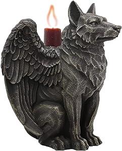 Ebros Sitting Gothic Angel Winged Wolf Candle Holder Statue Denizen Of The Twilight Werewolves Direwolf Fantasy Decor Sculpture For Halloween Underworld Macabre Mystic Decorative Candleholder Figurine