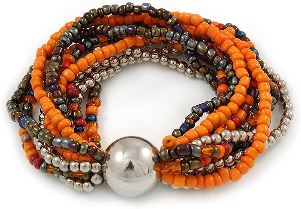 Avalaya - Pulsera flexible de cristal y plástico con bola (naranja/plata/pavo real), 18 cm de largo