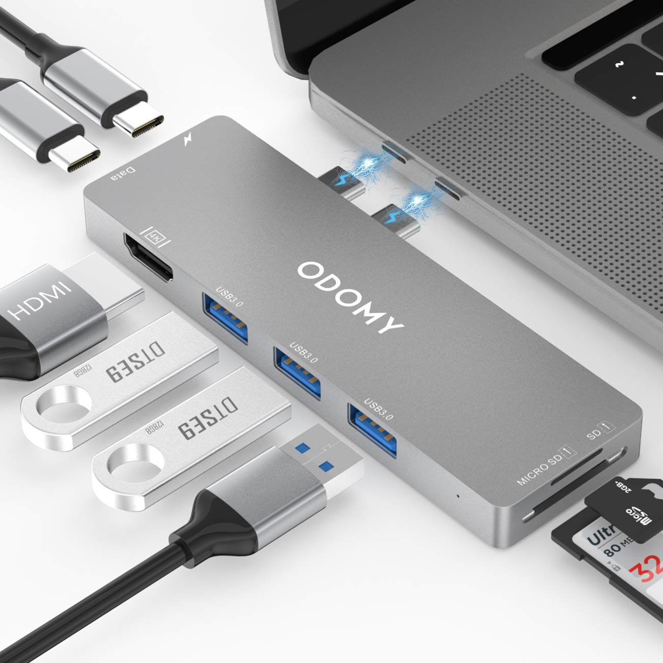 ODOMY USB C Hub 8 in 1 for MacBook Pro 2019 2018 2017 2016 13''15'' Dual Type C Hub Adapter with Thunderbolt 3, 100W Power Delivery, 4K HDMI, 3xUSB 3.0 Ports, SD&TF Card Reader
