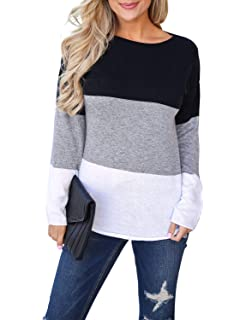 fed48c0e41 Blooming Jelly Women's Long Sleeve Round Neck Elbow Patched Color Block Stripe  Shirt Tops