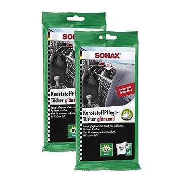 2 x Sonax 04151000 plástico Cuidado Toallitas húmedas 10 unidades, brillante