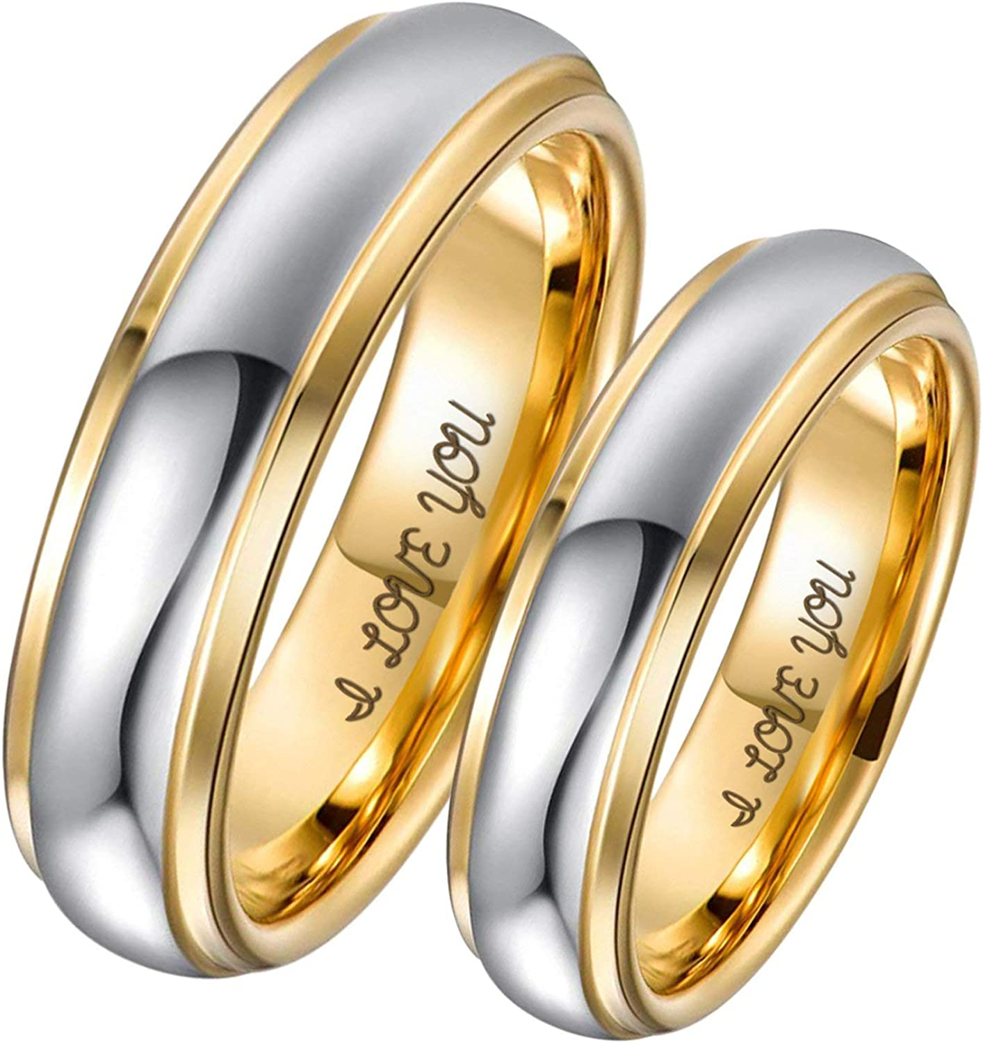Amazon Com Aeici 4mm 6mm Tungsten Couple Ring Two Tones Engraved I Love You Wedding Rings Engagement Rings For Men Women Jewelry