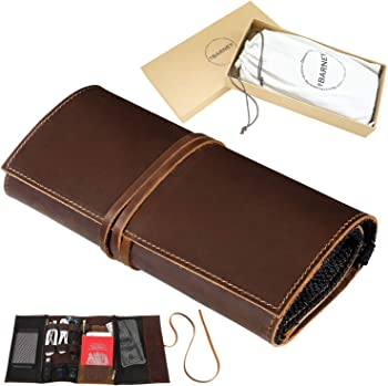 BY BARNEY Genuine Crazy Horse Leather Travel Pouch Electronics Organizer