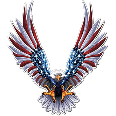 "Bald Eagle American Flag Sticker/Decal - 6"" x 6.75"" Inch American Flag Decal (1 Pack): Automotive"