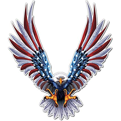 Amazon Com Bald Eagle American Flag Sticker Decal 6 X 6 75 Inch