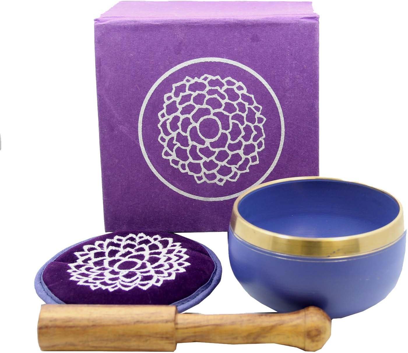 DharmaObjects Tibetan Third Eye Chakra Premium Singing Bowl Set