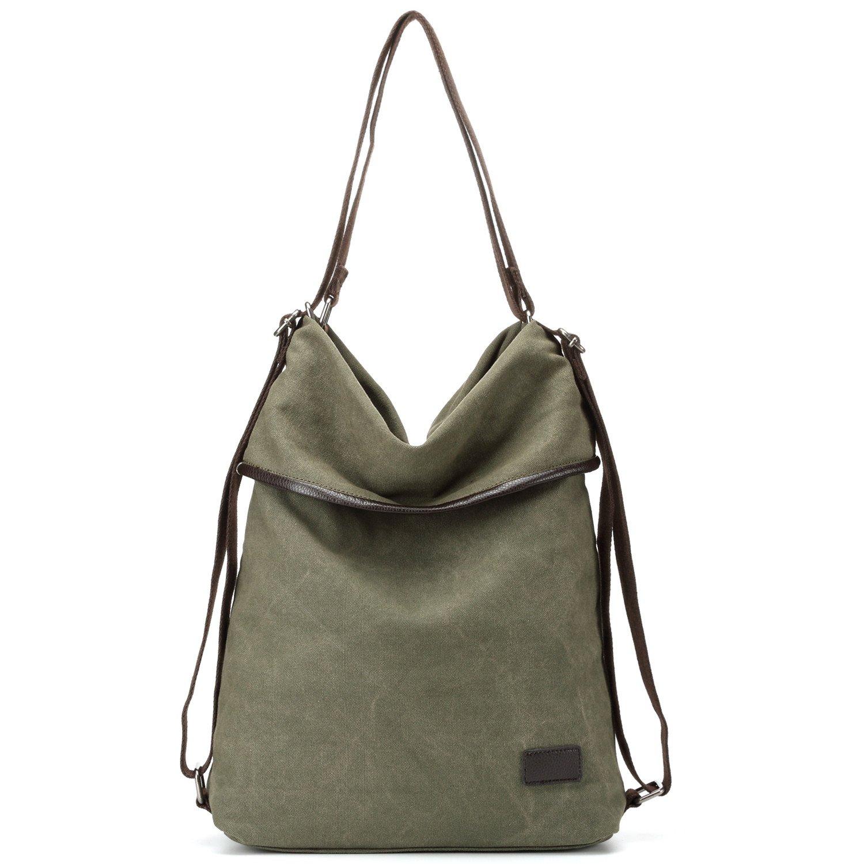 Womens Shoulder Bag Canvas Multifunctional Backpack Purse Rucksack Convertible bag Crossbody Casual Tote Handbag