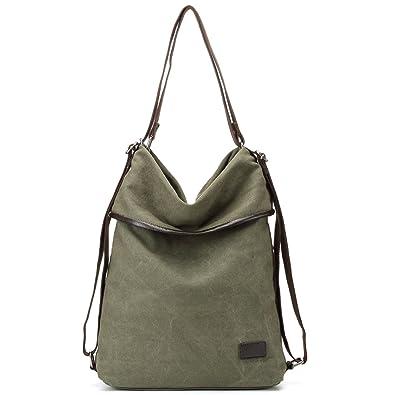 77c341de9 Amazon.com: Womens Shoulder Bag Canvas Multifunctional Backpack Purse  Rucksack Convertible bag Crossbody Casual Tote Handbag (Amy green): Shoes
