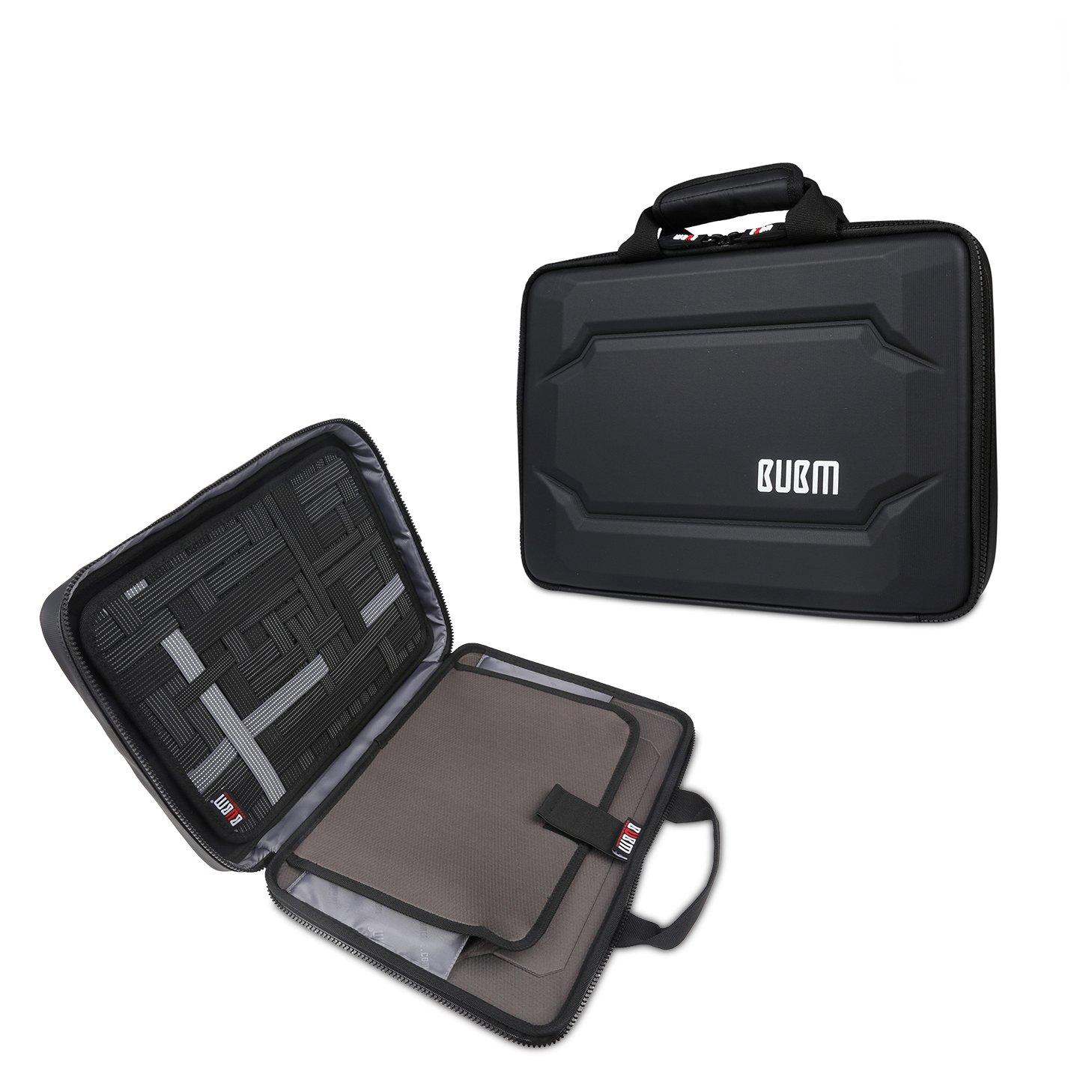 Travel Laptop Messenger Bag - BUBM 13.3 inch Laptop Briefcase Shoulder Bag Waterproof & Shockproof Carrying Case Hard Shell Laptop Sleeve for 13.3 MacBook,Notebook Computer,Black (13.3 inch-1 Layer)