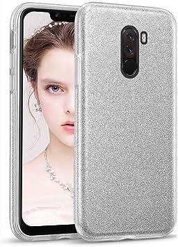 Image ofCoovertify Funda Purpurina Brillante Plateada Xiaomi Pocophone F1, Carcasa Resistente de Gel Silicona con Brillo Gris Plata para Xiaomi Pocophone F1