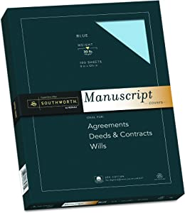 "Southworth 25% Cotton Paper Blue Manuscript Covers, 9"" x 12.5"", 30 lb. Cover Weight, Blue, 100 Sheets (41S)"