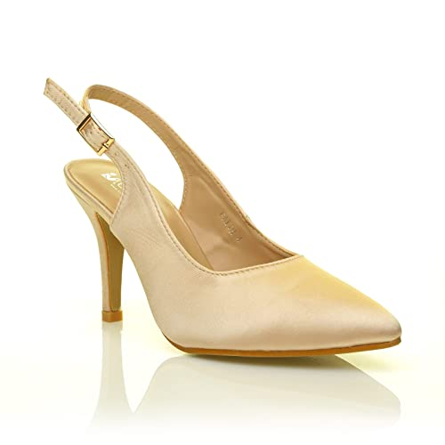 5270ba4ff811 Faith Champagne Gold Satin Stiletto High Heel Slingback Bridal Court Shoes  Size UK 5 EU 38