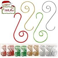 Jyukan Christmas Ornament Hooks 160 Pcs Christmas Tree Ornament Hangers Hooks for Christmas Tree Decorations,Mix Colors