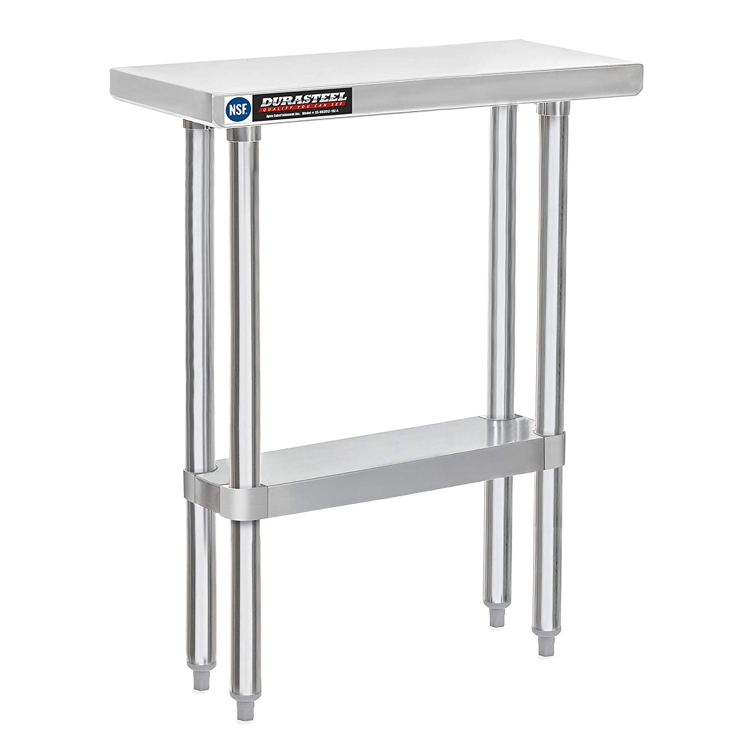 "DuraSteel Stainless Steel Commercial Food Prep Work Table 30"" x 12"" x 34"" Height w/Die Cast Corner Brackets - NSF Certified - Fits for use in Restaurant, Business, Warehouse, Home, Kitchen, Garage"