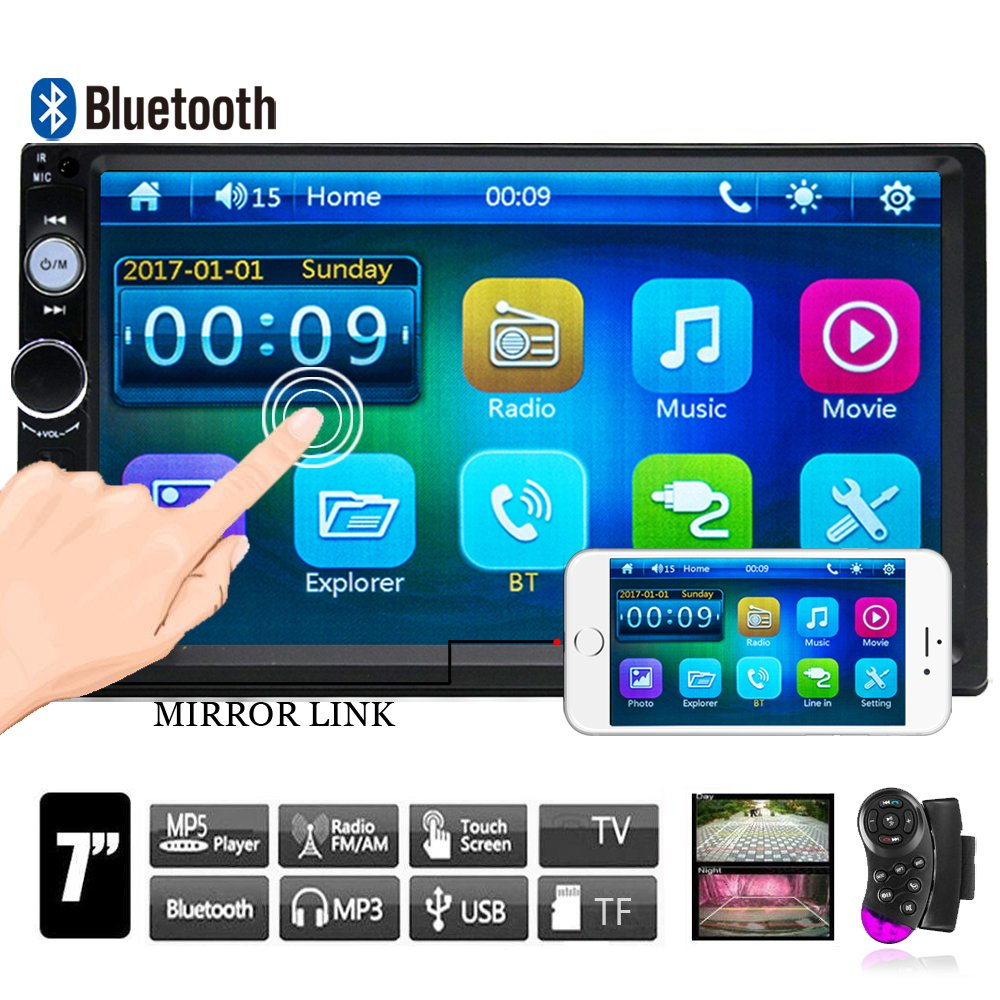 Camecho Double Din Car Stereo, Mirror Link 7'' HD Bluetooth Player Digital Monitor Touchscreen, Support USB/FM/TF/MP5 Multimedia 2 din Mobile Phone interconnection Car Backup Camera+ Remote Control