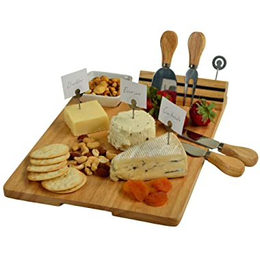 Picnic at Ascot Hardwood Cheese Board/Charcuterie Platter with Cheese Knives, Cheese Markers & Ceramic Dish - Designed & Quality Checked in the USA