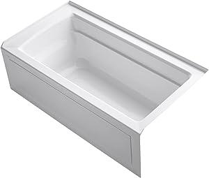 KOHLER K-1123-RA-0 Archer 5-Foot Bath with Comfort Depth Design, Integral Apron and Right-Hand Drain, White