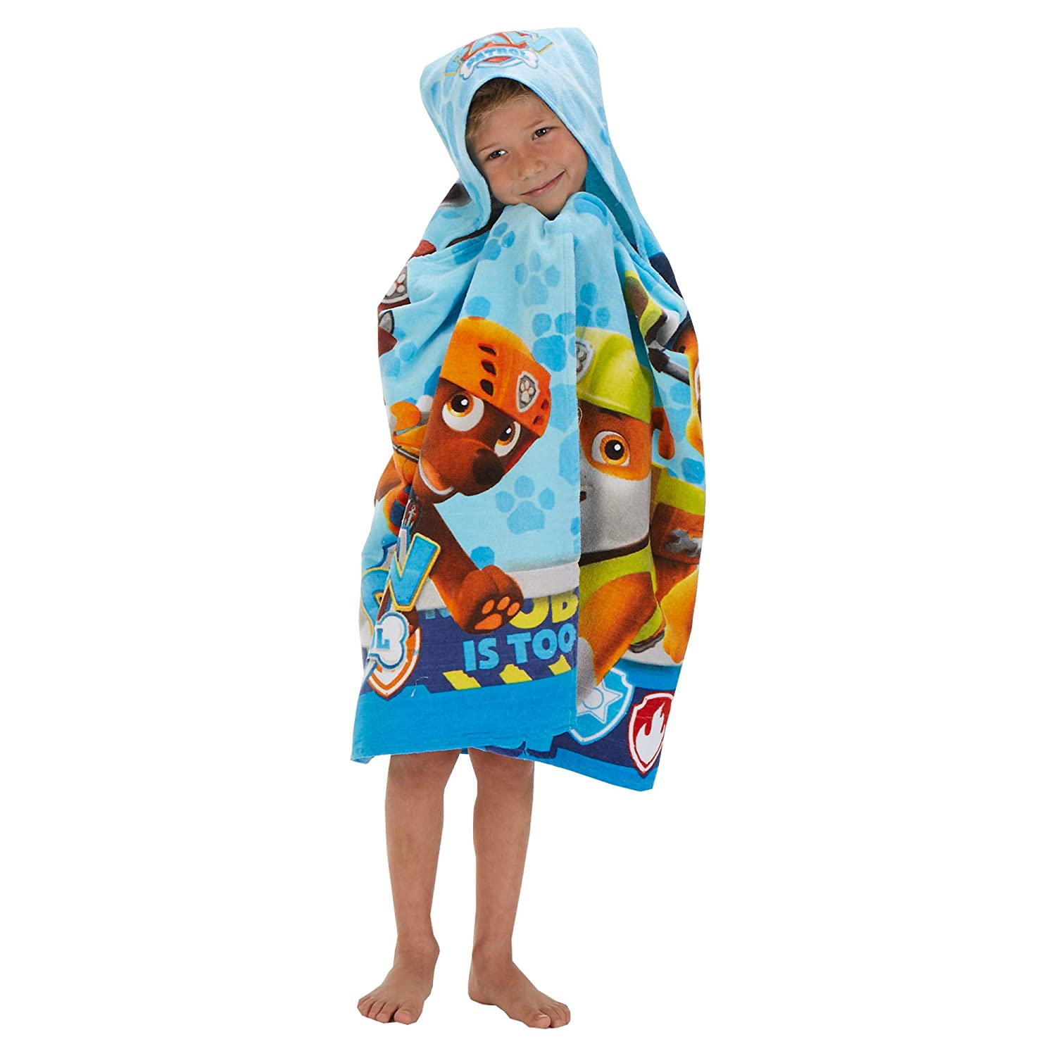 "Franco Kids Bath and Beach Soft Cotton Terry Hooded Towel Wrap, 24"" x 50"", Paw Patrol Blue"
