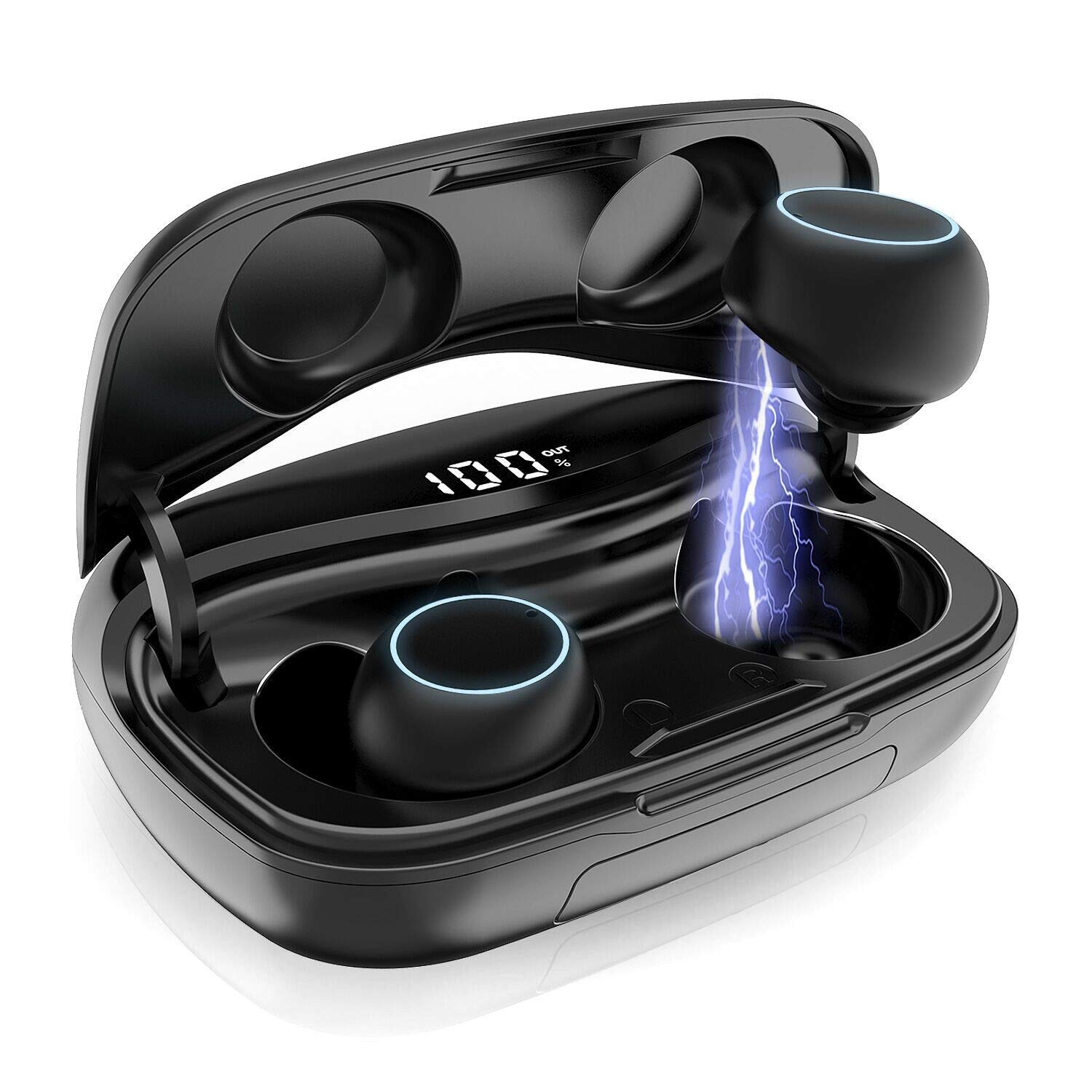 True Wireless Earbuds, Bluetooth 5.0 Wireless Earphones in-Ear 3D Stereo Wireless Headphones IPX7 Waterproof Bluetooth Earbuds Mic 60H Playtime with 3500mAh Charging Case, Smart Touch, Instant Pairing