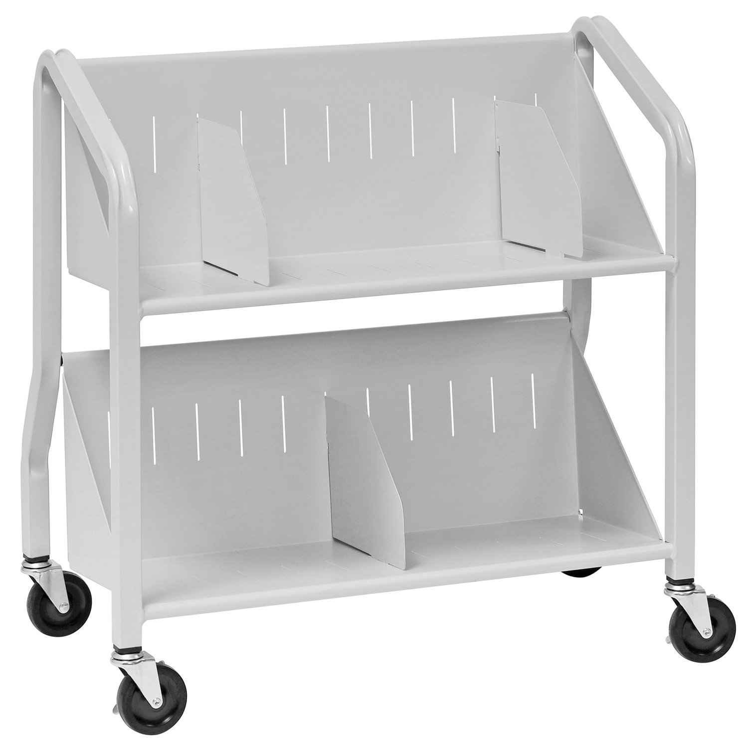 Buddy Products Two-Shelf Sloped Book Cart with Dividers, 15 x 27 x 29 Inches, Platinum (5413-32) by Buddy Products