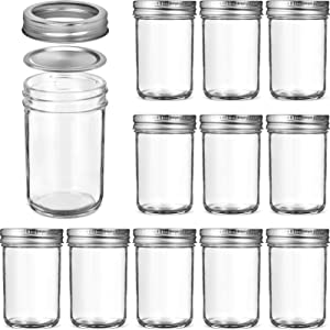 Glass Regular Mouth Mason Jars, 8 Oz Glass Jars with Metal Airtight Lids & Bands for Canning, Food Storage, Prep, Jams, Jellies, Pickles, Preserves, Overnight Oats, Spices, Salad, Drinking (12 Pack)