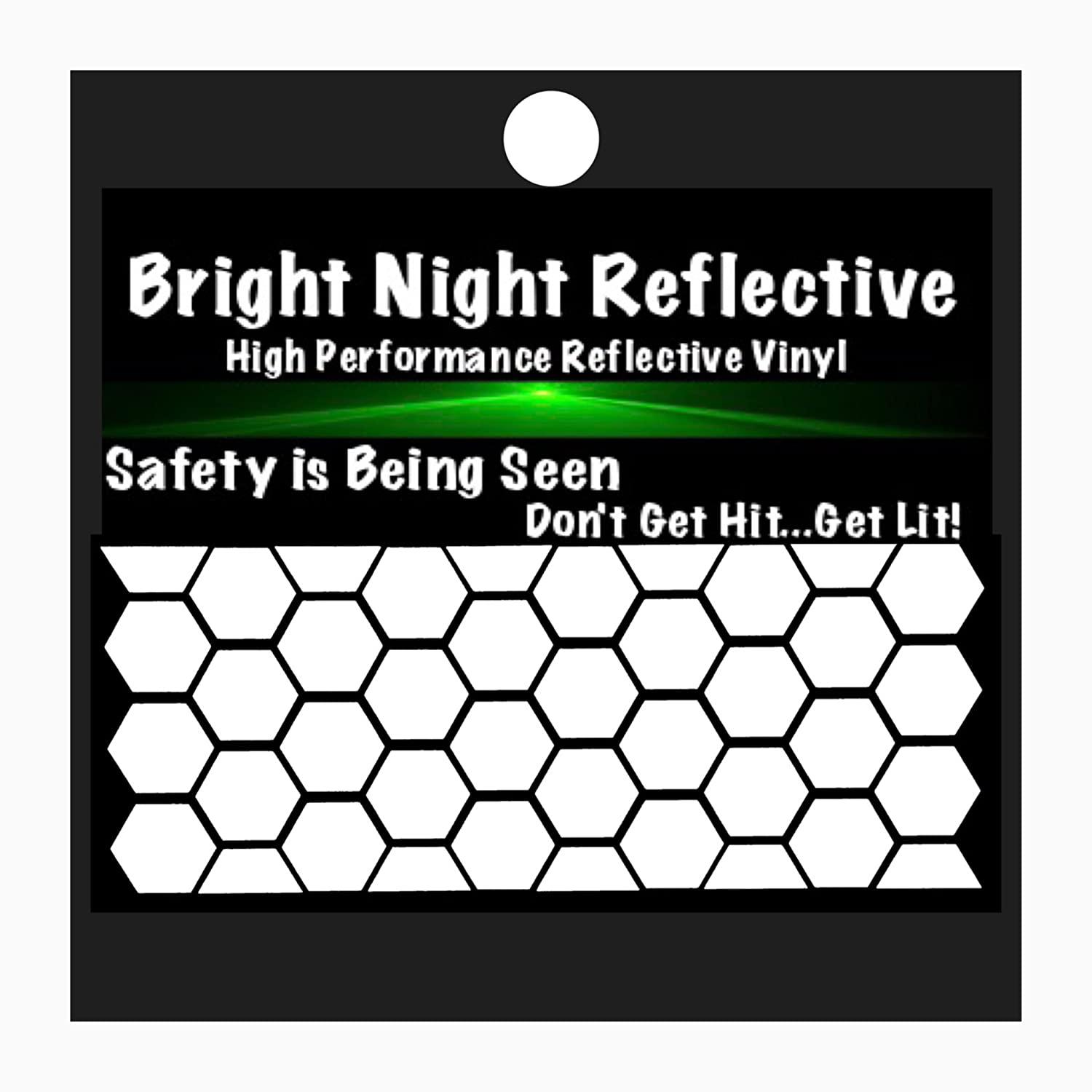 bright night reflective Reflective decals hexagon stickers 1 wide great for helmet bike motorcycle jetski person protection strolllers