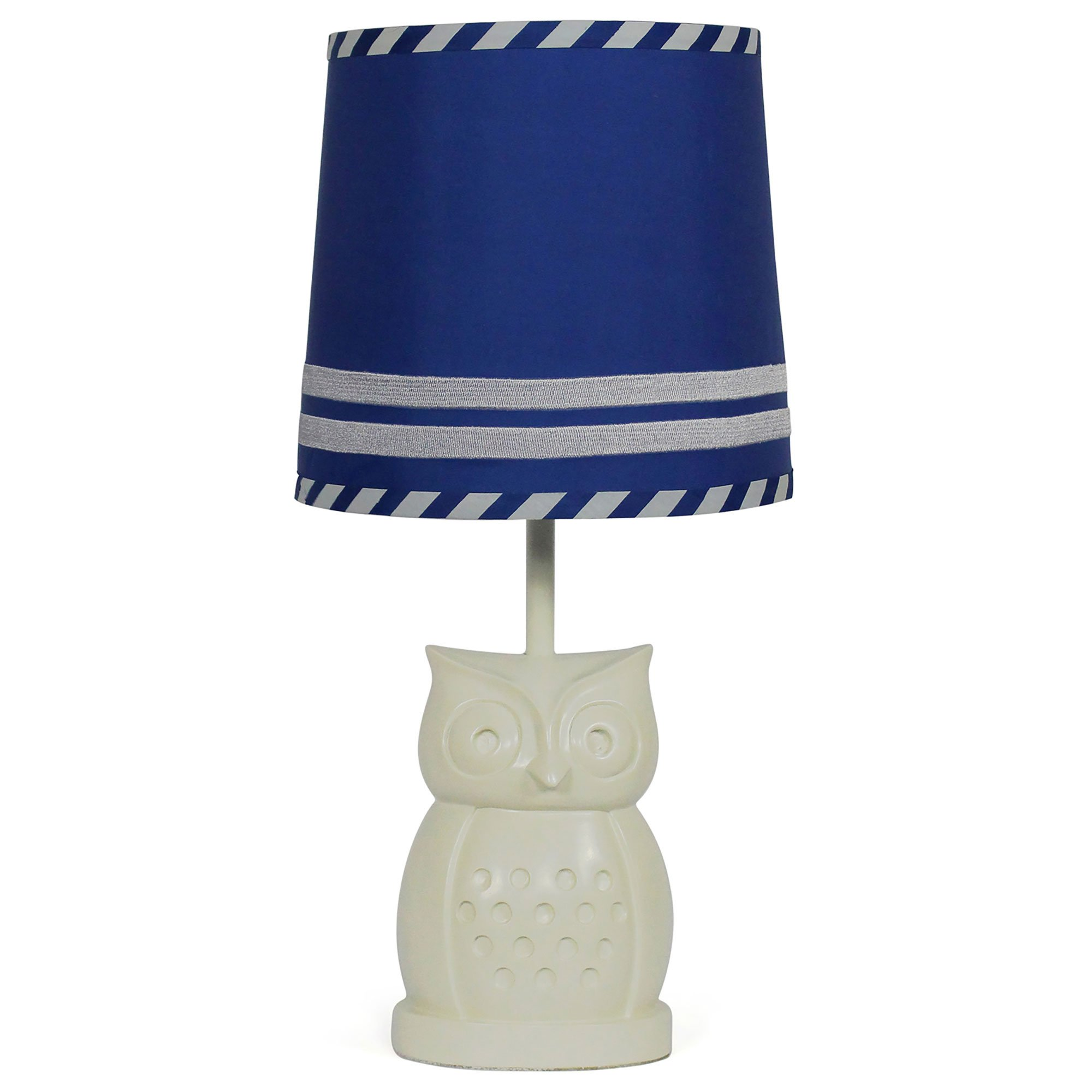 Royal Blue Nursery Lamp Shade with White Owl Base, CFL Bulb Included