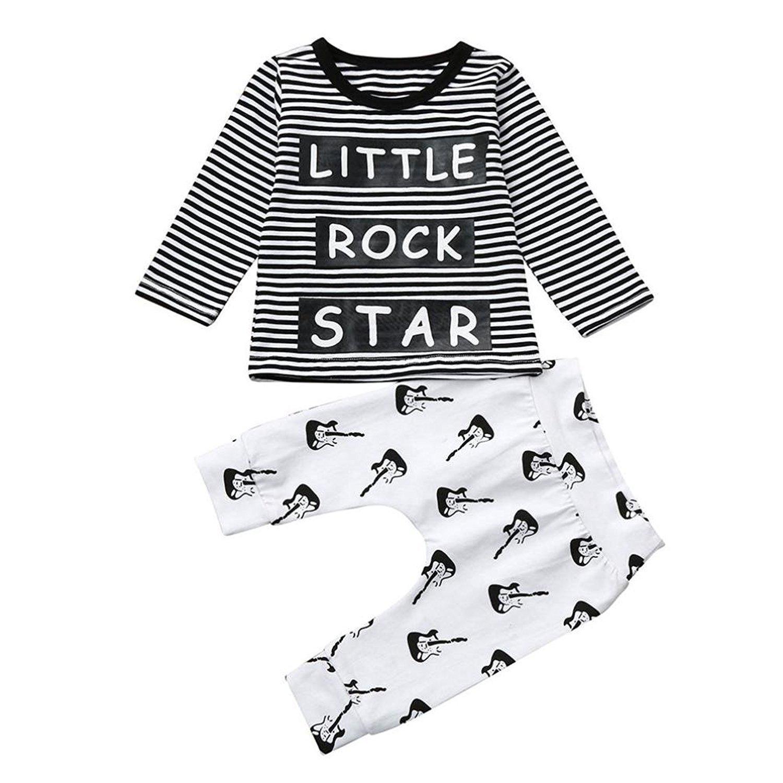 9-12 Month Webla Newborn Infant Baby Boy Letter Little Rock Star Striped T Shirt Tops+Pants Clothes Set Ages 0-18 Months