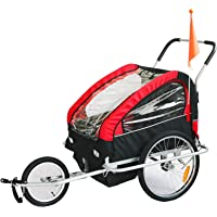 KMS Child Kids Bike Trailer Stroller Jogger with Suspension for 1 to 2 Children Seater Red Black
