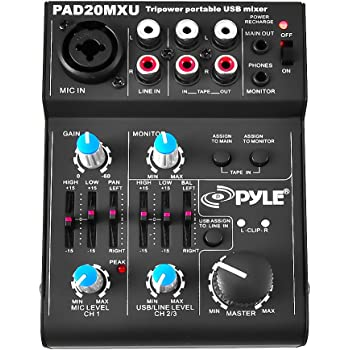 pyle 5 channel audio mixer dj sound controller interface with usb soundcard for pc. Black Bedroom Furniture Sets. Home Design Ideas