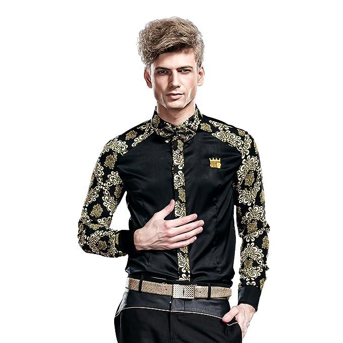 a0102ffe7707 FANZHUAN Abbigliamento da Cerimonia per Uomo Fiori Maniche Lunghe Nera Slim  Fit  Amazon.it  Abbigliamento