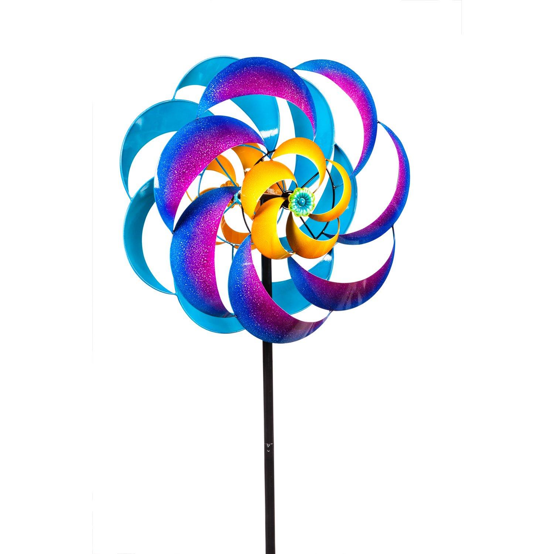 New Creative Summer Blaze 75-inch Outdoor Safe Metal Wind Spinner Kinetic Garden Stake