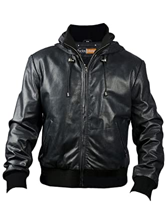 FE Soprano Perforated Hooded Black Bomber Leather Jacket Men with Hoodie -  Real Genuine Lambskin 7d4d88465