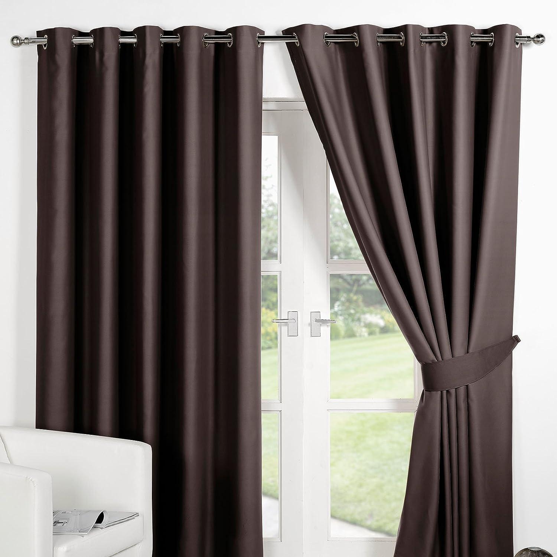 Dreamscene schwarzout Luxus Vorhang mit Ösen, Schokolade Braun, 90 x x x 137 cm 925a54