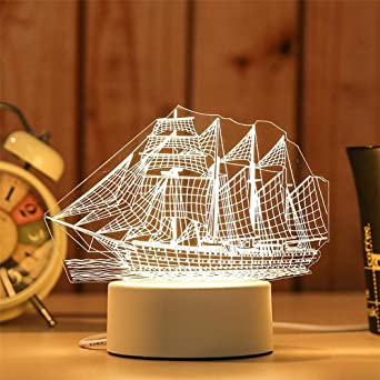 3D USB acrílico luz de noche LED mesa escritorio dormitorio ...