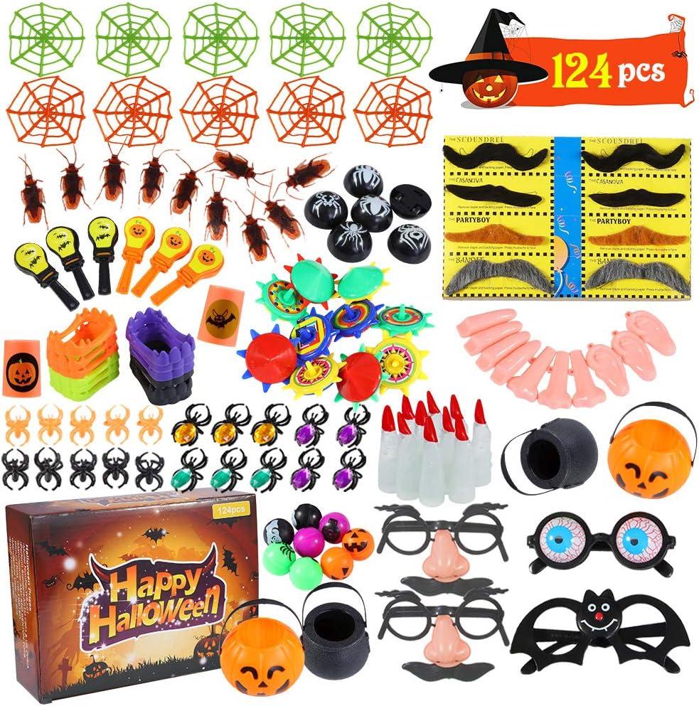 ThinkMax 124 Pack Juguete de Fiesta de Halloween para niños, Juguetes de Novedad para golosinas de Halloween Llenadores de Bolsas, premios y premios