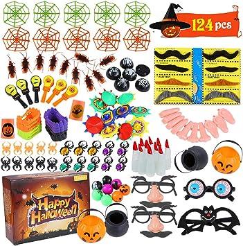 ThinkMax 124 Pack Juguete de Fiesta de Halloween para niños, Juguetes de Novedad para golosinas de Halloween ...