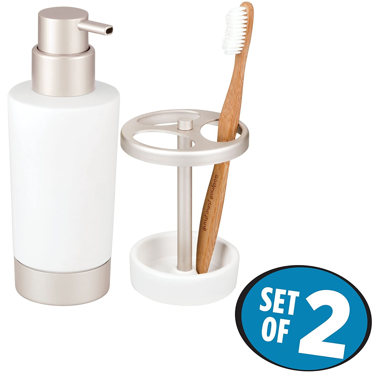 Includes Hand Soap Dispenser Pump Toothbrush Stand Rustproof Matte White//Satin MetroDecor Set of 2 mDesign Decorative Ceramic Bath Accessory Set for Bathroom Vanity Countertops and Sinks