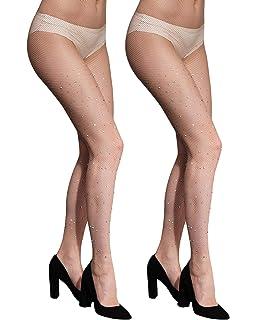 74b30631a8f16 CHRLEISURE Women's Sparkle Rhinestone Fishnets Sexy Tights High Waist  Stockings