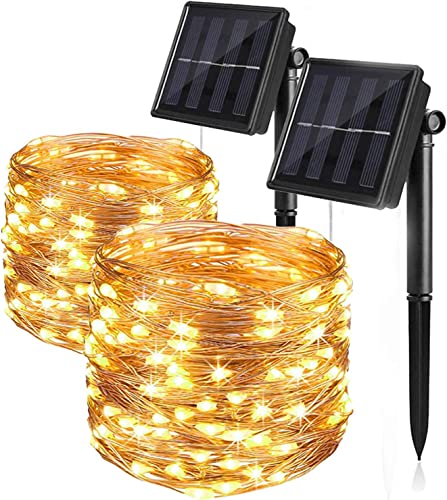 KLG 2 Pack Solar String Lights Outdoor Waterproof 66FT 200 LED with 8 Modes Decoration Copper Wire Fairy Lights for Christmas Wedding Party Patio Yard Trees Decoration Warm White