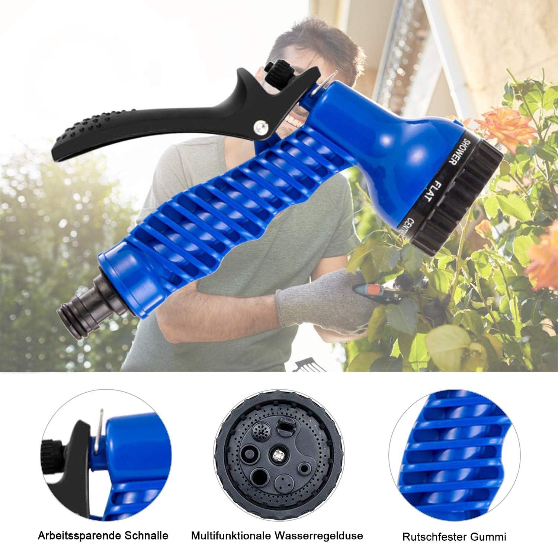 100FT, Azul Giardino Tubo da Giardino Estensibile Retrattile con 10 Funzioni di Spruzzo Tubo Estensibile da Giardino Tubo Estensibile da Giardino Per Lavaggio Auto Cortile Tubo Da Giardino