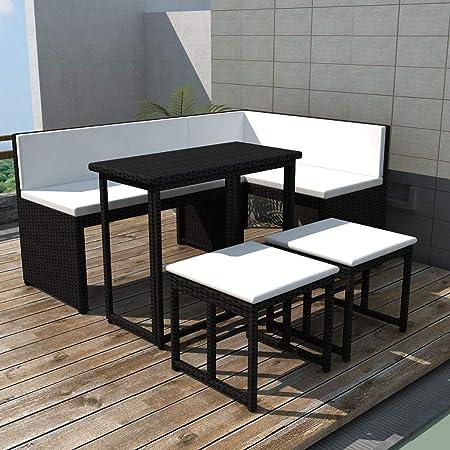 UnfadeMemory Set de Sofás de Jardín con Cojines,Sofá de Esquina+Sofá de 2 Plazas+Mesa Plegable+2 Taburetes,Muebles de Jardín Terraza Balcón o Patio,Ratán PE y Acero (Negro): Amazon.es: Hogar